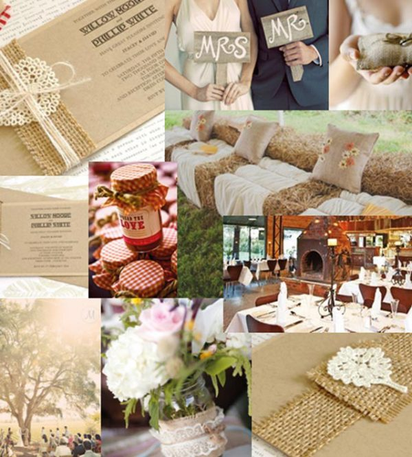 Un romantico ricevimento in campagna per un matrimonio elegante in un ambiente rurale