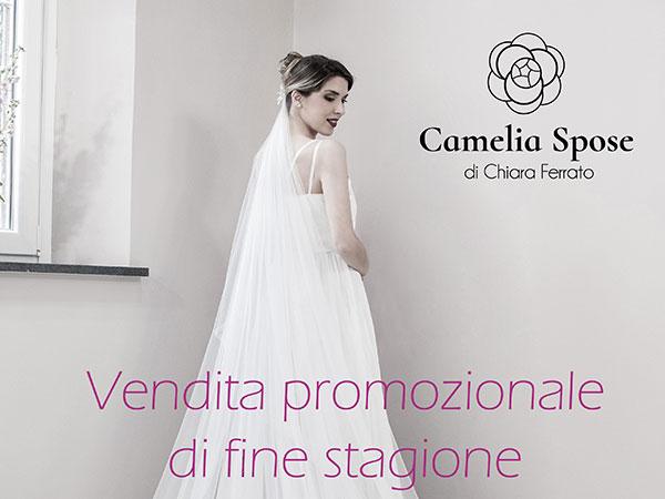 Promozione di fine stagione da Camelia Spose su accessori e abiti da sposa in pronta consegna